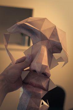 self-portrait Halloween mask in progress, by Eric Testroete