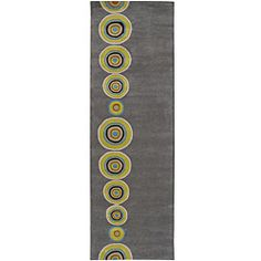 Hand-tufted Contemporary Multi Colored Circles Geometric Dazed New Zealand Wool Rug (2'6 x 8')