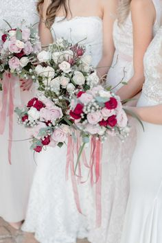 Bridesmaid Bouquets in Burgundy and Blush   Clareece Smit Photography on @SouthBoundBride via @aislesociety