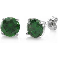 BERRICLE Sterling Silver Round CZ Solitaire Fashion Stud Earrings ($30) ❤ liked on Polyvore featuring jewelry, earrings, green, sterling silver, stud earrings, women's accessories, stud earring set, green earrings, cz earrings and sterling silver earrings