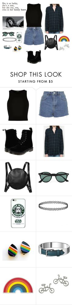 """keep it together"" by genesisdallas ❤ liked on Polyvore featuring River Island, Topshop, Dr. Martens, Monki, Ray-Ban, Anya Hindmarch, women's clothing, women, female and woman"