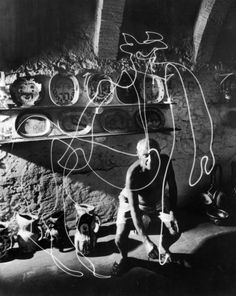 Pablo Picasso creates a light drawing, 1949 | LIFE Behind the Picture: Picasso 'Draws' With Light | LIFE.com