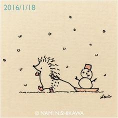 Hedgehog & snowman