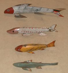 1-Unknown carver from Duluth, MN   3-Unknown carver from Iowa  2-SOLD  3-SOLD  4- SOLD  Fish Decoys - Page 1