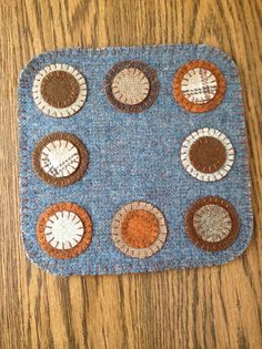 Wool penny rug wool candlemat by granniesraggedybags on Etsy