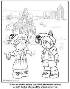 Kenyan Girl Guide Coloring Page Coloring Pages For Girls, Cool Coloring Pages, Printable Coloring Pages, Brownie Girl Scouts, Girl Scout Troop, Activities For Girls, Free Activities, Brownies Girl Guides, Multicultural Crafts