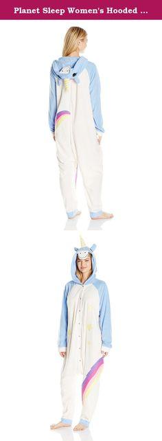 Planet Sleep Women's Hooded Animal Onesie Back Flap, Blue Unicorn, OS. Fun animal onesie pajamas available in unicorn, tiger, monkey, and penguin.