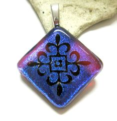 Magenta Blue Dichroic Fused Glass Pendant