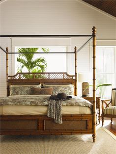 Island Estates Canopy Bed is part of home Aesthetic Beds Elegantly beautiful the Tommy Bahama Home Island Estate West Indies Four Poster Bed will mesmerize you in every way It has a coastal canopy - Tropical Bedrooms, Coastal Bedrooms, Tommy Bahama, Style Tropical, Tropical Design, Tropical Decor, Estilo Colonial, British Colonial Decor, Bed Frame Design