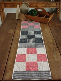 Farmhouse Prim! Antique 1880 Nine Patch Table Quilt RUNNER 46x10 Nine Patch, Primitive Country, Country Decor, Table Runners, Crock, Pot Holders, Patches, Farmhouse, Decorating