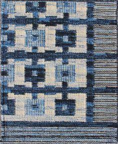 European Scandinavian Viscose & Wool Flat Weave Rug