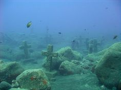 Underwater monument created in 2000 to mark the Tazacote martytrs, a slaughter of 40 monks by pirates in 1570 off La Palma Isle, Canaries.