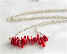 Sterling Silver & Red Coral Necklace - Jewelry by Jason Stroud.