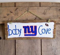 Reclaimed NY GIANTS Baby Cave Wood Sign Girls Boys by JunkWorksEtc, $15.00