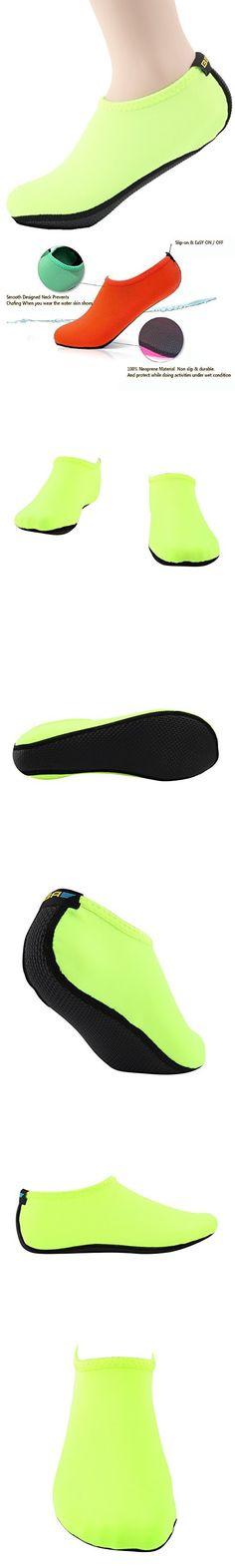 Wowfoot Water Shoes For Women Men's Aquatic Socks Flexible Fitness Pool (3. L(W:8-9, M:7-8), Green)
