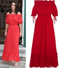 hrhduchesskate: Tour of Germany, Day 1, July 19, 2017-The Duchess of Cambridge in Alexander McQueen cotton-slk off the shoulder maxi dress