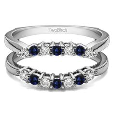 Vintage Genuine Blue Sapphire Contour Ring Guard in 14K White Gold by TwoBirch