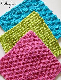 6 Knit Dishcloth Patterns Tutorials E-book PDF by KnittingGuru
