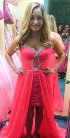 Jessica Sharples Wears Mac Duggal Style 6089L. Neon pink high low dress. Sweetheart neckline and hot pink dress.