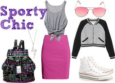 Sporty Chic with a pink pencil skirt
