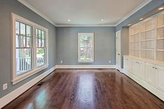 Built-ins in living room - contemporary - Home Office - Dc Metro - Tradition Homes-Benjamin Moore Brewster Gray House Colors, Contemporary Home Office, New Homes, Home, Family Room, Interior Paint Colors For Living Room, Living Room Diy, Family Room Design, Living Room Paint