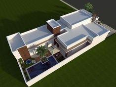 Resultado de imagem para casas de condominio terreas House Layout Plans, House Layouts, House Plans, Modern House Facades, Modern House Design, Tropical Greenhouses, Piscina Interior, Sims House, Outdoor Furniture Sets