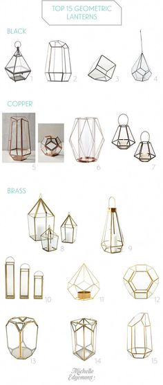 Top 15 Geometric Lanterns, candle holders, and terrariums for modern weddings by. Top 15 Geometric Lanterns, candle holders, and terrariums for modern weddings by Michelle Edgemont Geometric Decor, Geometric Wedding, Geometric Shapes, Lantern Candle Holders, Candle Lanterns, Modern Candle Holders, Ideas Lanterns, Geometric Candle Holder, Candle Holders Wedding