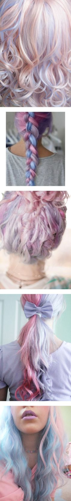 """Pastel Hair"" by liz-wade on Polyvore.. so pretty. Aveda hair products are natural, cruelty free and bottles are biodegradable.. an awesome eco hair company.. so if you want colour .. go there."