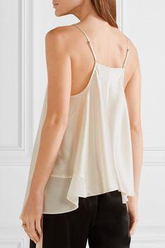 1c06baa73e831 alexanderwang.t - Chiffon-trimmed silk-charmeuse camisole