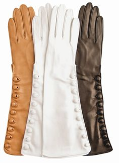 Elbow Length Silk Lined Lambskin Leather Gloves With Buttons by Fratelli Orsini