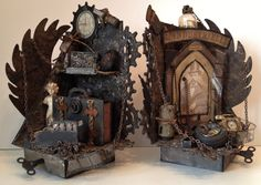 Tim Holtz Steampunk Grunge Bookends with a tiny mini album