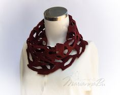 Infinite openwork scarf Marsala circle scarf Women Fashion Accessories - pinned by pin4etsy.com