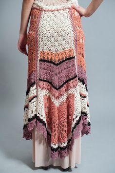 Hippie Hand Crochet Maxi Skirt Winter Cotton skirt by NaliniShop,