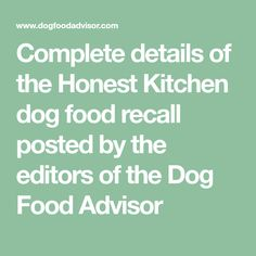 Similar Ideas. More Information. Complete Details Of The Honest Kitchen ...
