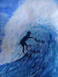 Surfer print of original acrylic painting by ArtByMooncatDesigns
