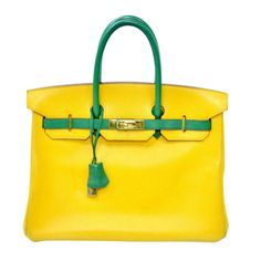 Hermes Birkin Two Tone Yellow Gold Hardware 35cm | From a collection of rare vintage handbags and purses at http://www.1stdibs.com/fashion/accessories/handbags-purses/