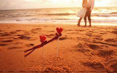 Boy Girl Hearts Beach Wallpaper