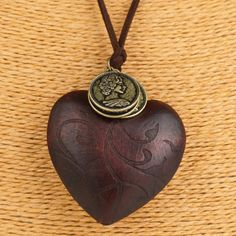 Maxi necklace vintage necklaces pendants women jewelry fashion online buy wholesale wooden heart pendant from china wooden heart pendant wholesalers aloadofball Gallery