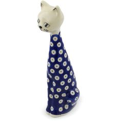 Polish Pottery 10-inch Cat Figurine | Boleslawiec Stoneware | Polmedia H0598H