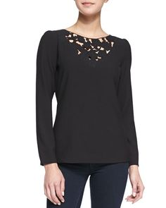 T87Z9 Cooper & Ella Jade Floral Embroidered Cutout Blouse, Black