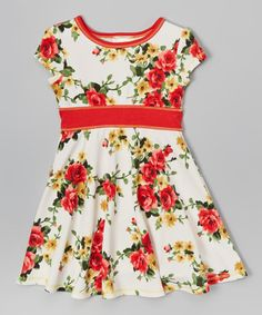 This Red & White Floral Dress - Infant & Girls is perfect! #zulilyfinds