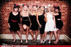 Hahaha Disney Bridesmaids - for the bachelorette party or the rehearsal dinner Bachlorette Party, Disney Bachelorette Parties, Bachelorette Weekend, Disney Bridesmaids, Bridesmaid Poses, Bridesmaid Dresses, Wedding Dresses, Minnie Mouse, Mouse Ears