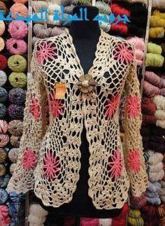 crochelinhasagulhas: Casaco em square de crochê