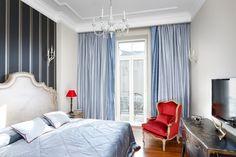 Kolorystyka w sypialni - czerwień i błękit