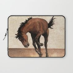 """""""Cheval / Horse"""" laptop Sleeve by Savousepate on Society6 #laptopsleeve #horse #drawing #brown"""