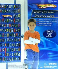 Hot Wheels Over Door Storage for 120 Cars, thinking I can buy clear vinyl or shower curtain liner to make something similar