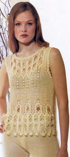 CARAMELO DE CROCHET: blusa con calado en base y escote