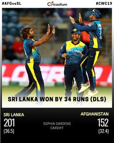 Sri Lanka bowlers defended the 🎯 as Afghanistan were all out for 152.  #AFGvSL #SriLanka #LionsRoar #CWC19 #CricketWorldCup2019 #Cricadium (📸: ICC) Cricket Score, Live Cricket, Cricket World Cup, Cricket Match, Cricket Update, Latest Cricket News, Afghanistan, Sri Lanka, Baseball Cards