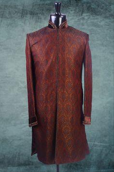 #Brown brocade weaved indo western #sherwani -IW112