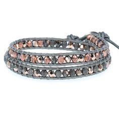 Rose Gold Crystal Double Wrap Bracelet on Grey Leather - Chan Luu